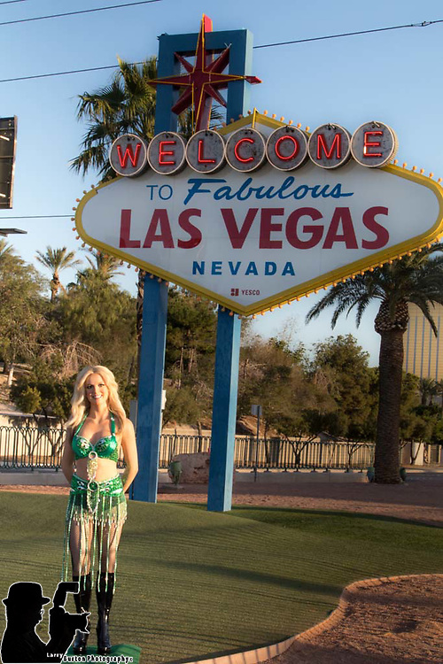 Madame Tussauds Las Vegas displays Britney Spears Wax Figure at the Welcome to Las Vegas Sign