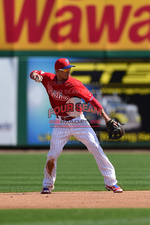 Philadelphia Phillies infielder Cesar Hernandez (16) during an exhibition game against the University of Tampa on March 1, 2015 at Bright House Field in Clearwater, Florida.  University of Tampa defeated Philadelphia 6-2.  (Mike Janes/Four Seam Images)