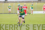 Kerry's Colm Harty and Derry's Rurairi Mac Closkey in action at Austin Stack park, Tralee on Sunday.
