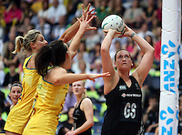 13.10.2013 Silver Fern Cathrine Latu during the Silver Ferns V Australian Diamonds Netball Series played at the AIS Arena in Canberra Australia. Mandatory Photo Credit ©Michael Bradley.