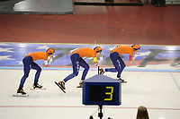 SPEEDSKATING: SALT LAKE CITY: 08-12-2017, Utah Olympic Oval, ISU World Cup, Team Pursuit Ladies, Team Nederland, Marrit Leenstra, Lotte van Beek, Melissa Wijfje, NR 2.55,57, ©photo Martin de Jong