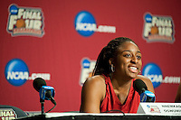 INDIANAPOLIS, IN - APRIL 2, 2011: Nnemkadi Ogwumike answers questions during a press conference at the NCAA Final Four in Indianapolis, IN on April 1, 2011.