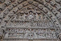 Central portal, tympanum depicting the Last Judgement, Amiens Cathedral, 13th century, Amiens, Somme, Picardie, France Picture by Manuel Cohen