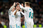 Real Madrid's Luka Modric, Lucas Vazquez, Toni Kroos and Marco Asensio celebrate goal during La Liga match. February 10,2017. (ALTERPHOTOS/Acero)
