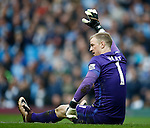 Joe Hart of Manchester City calls for help during the Barclays Premier League match at The Etihad Stadium. Photo credit should read: Simon Bellis/Sportimage