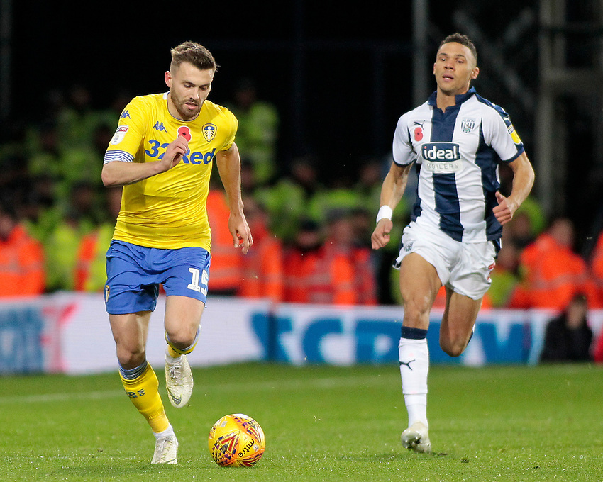 Leeds United's Stuart Dallas gets away from West Bromwich Albion's Kieran Gibbs<br /> <br /> Photographer David Shipman/CameraSport<br /> <br /> The EFL Sky Bet Championship - West Bromwich Albion v Leeds United - Saturday 10th November 2018 - The Hawthorns - West Bromwich<br /> <br /> World Copyright © 2018 CameraSport. All rights reserved. 43 Linden Ave. Countesthorpe. Leicester. England. LE8 5PG - Tel: +44 (0) 116 277 4147 - admin@camerasport.com - www.camerasport.com