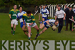 I should have stayed in Dublin! Castleisland Desmonds and ex-Kerry defender Mossy Lyons falls foul of the attentions of Finuge's Jack Corridan in their North Kerry final in Ballylongford on Sunday.   Copyright Kerry's Eye 2008