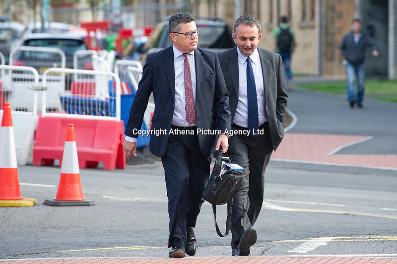 Pictured: (Right) Enzo Sauro of Enzo Homes Ltd arrives at Swansea Magistrates' Court. Tuesday 13 August 2019<br /> Re: Developer in court over felling of beautiful '200-year-old' redwood tree at housing estate.<br /> A contractor has pleaded guilty to felling trees subject to a preservation order, but the owner of the site denies the charges against him.