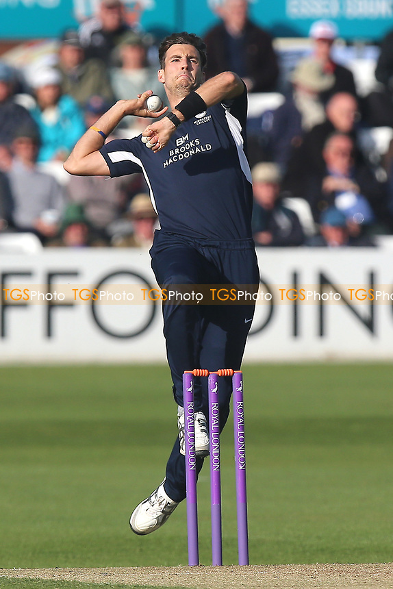 Steven Finn in bowling action for Middlesex during Essex Eagles vs Middlesex, Royal London One-Day Cup Cricket at The Cloudfm County Ground on 12th May 2017