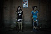 Transexual women working as sex workers wait for customers outside a night club in Thamel in capital Kathmandu, Nepal
