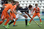GER - Mannheim, Germany, May 16: During the whitsun tournament boys hockey match between Germany (black) and The Netherlands (orange) on May 16, 2016 at Mannheimer HC in Mannheim, Germany. Final score 4-3 (HT 2-0). (Photo by Dirk Markgraf / www.265-images.com) *** Local caption *** Moritz Ludwig #6 of Germany (U16)