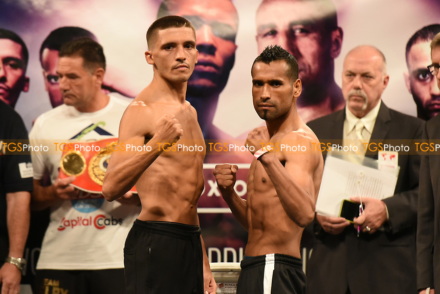 Lee Selby (L) and Jonathan Victor Barros during a Weigh-In at the SSE Arena on 14th July 2017
