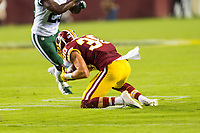 Landover, MD - August 16, 2018: Washington Redskins defensive back Troy Apke (30) intercepts a tipped pass during the game between the New York Jets and Washington Redskins at FedEx Field in Landover, MD. (Photo by Phillip Peters/Media Images International)