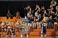 21 January 2012:  FIU's band, the Courtside Players, along with the Golden Dazzlers and FIU's mascot, Roary, fires up the crowd during a break in the action in the second half as the Florida Atlantic University Owls defeated the FIU Golden Panthers, 50-49, at the U.S. Century Bank Arena in Miami, Florida.