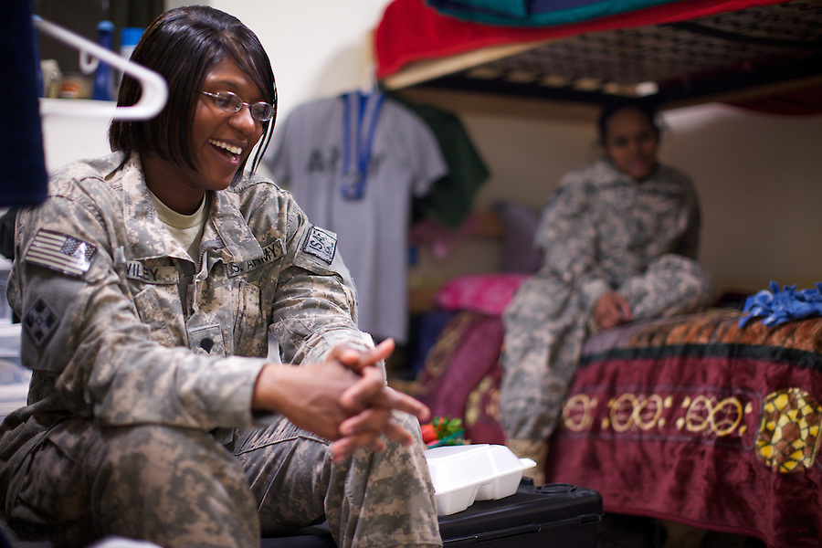 US ARMY Specialist Natasha Wiley jokes with a room mate in her quarters at  Forward Operating Base Fenty in the outskirts of Jalalabad, Afghanistan on Thursday   May 6, 2010...Specialist Wiley is a food specialist with HHC Company, Support Battalion, 704th Brigade, 4-4th ID, TF Mountain Warrior.
