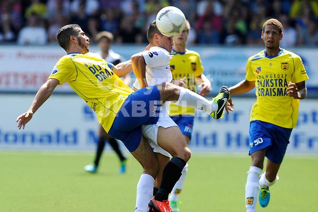 LEEUWARDEN - Voetbal, SC Cambuur - NAC Breda, Cambuur stadion, seizoen 2013-2014, 04-08-2013, SC Cambuur speler Ramon Leeuwin in duel