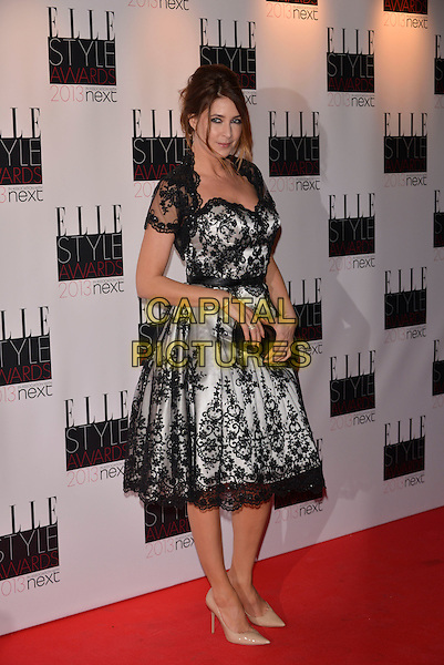 Lisa Snowdon.The Elle Style Awards 2013 arrivals, The Savoy Hotel, London, England..11th February 2013.full length grey gray black lace dress beige pointy shoes dress clutch bag.CAP/PL.©Phil Loftus/Capital Pictures