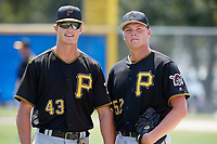 Pittsburgh Pirates pitcher Blake Cederlind (43) and pitcher Hunter Stratton (52) pose for a photo before a Florida Instructional League game against the Toronto Blue Jays on September 20, 2018 at the Englebert Complex in Dunedin, Florida.  (Mike Janes/Four Seam Images)