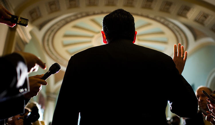 Sen. Ted Cruz, R-Texas, speaks to reporters after leaving the Senate Republican meeting in the Capitol on a deal to end the government shutdown and avert the debt limit crisis on Wednesday, Oct. 16, 2013.