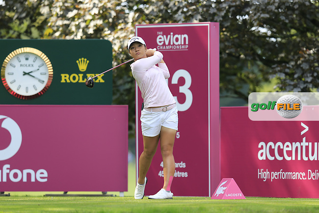 Lydia Ko (NZL) tees off the 13th tee during Sunday's Final Round of the LPGA 2015 Evian Championship, held at the Evian Resort Golf Club, Evian les Bains, France. 13th September 2015.<br /> Picture Eoin Clarke | Golffile