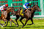 JULY 18, 2020 : Nay Lady Nay (IRE) with Paco Lopez aboard, wins the Grade 3 Matchmaker Stakes, for fillies & mares, going 1 1/8 mile on turf, at Monmouth Park, Elmont, NY.  Sue Kawczynski/Eclipse Sportswire/CSM