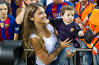 Antonella Roccuzzo  and his son, Thiago Messi during the match of  Copa del Rey (King's Cup) Final between Deportivo Alaves and FC Barcelona at Vicente Calderon Stadium in Madrid, May 27, 2017. Spain.. (ALTERPHOTOS/Rodrigo Jimenez) /NortePhoto.com