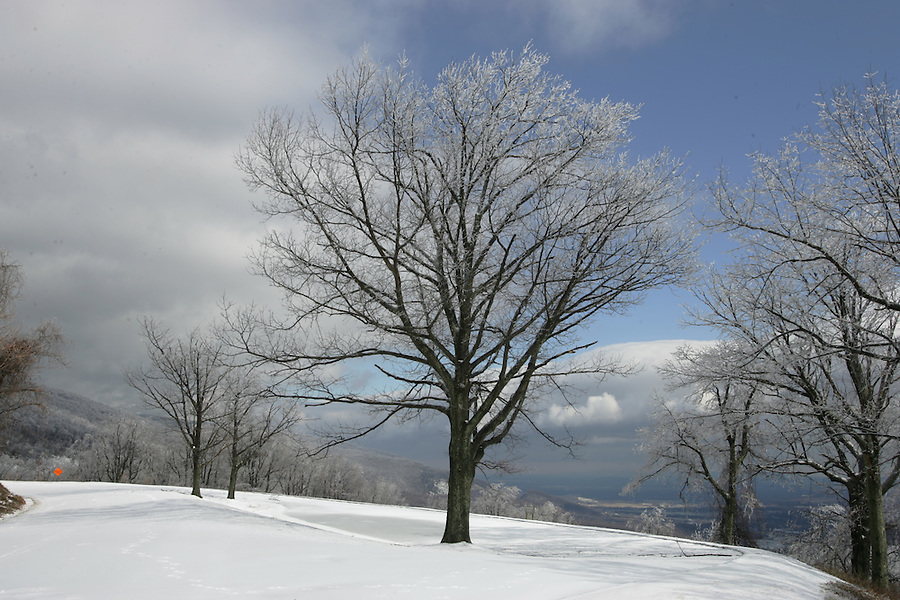 A snow covered Blue Ridge Parkway.