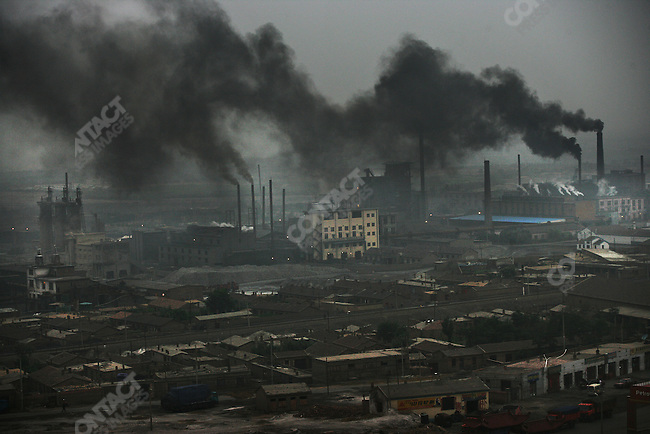 Fumes from the Lasengmiao Power Plant in Inner Mongolia..July 26, 2005.