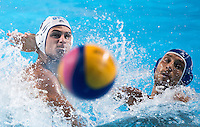 DERVISIS Georgios GRE and AICARDI Matteo ITA<br /> GREECE vs ITALY<br /> GRE vs ITA<br /> Waterpolo - Men's 3rd-4th place <br /> Day 16 08/08/2015<br /> XVI FINA World Championships Aquatics Swimming<br /> Kazan Tatarstan RUS July 24 - Aug 9 2015 <br /> Photo Giorgio Perottino/Deepbluemedia/Insidefoto