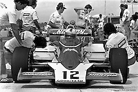 HAMPTON, GA - APRIL 22: Bobby Unser's Penske/Cosworth TC in the pit lane during practice for the Gould Twin Dixie 125 event on April 22, 1979, at Atlanta International Raceway near Hampton, Georgia.