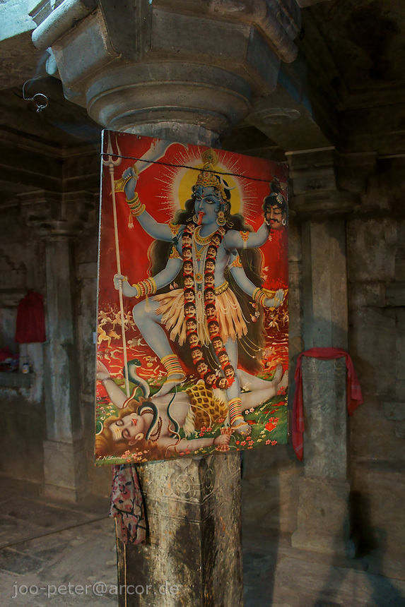 picture of Kali inside Shiva temple in village below Fort Amber near Jaipur, Rajastan, India