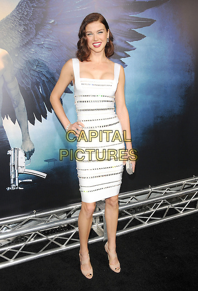 "ADRIANNE PALICKI.World Premiere of ""Legion"" held at The Arclight Cinerama Dome in Hollywood, California, USA..January 21st, 2010.full length white cleavage dress silver sequins sequined hand on hip beige peep toe shoes clutch bag .CAP/RKE/DVS.©DVS/RockinExposures/Capital Pictures."