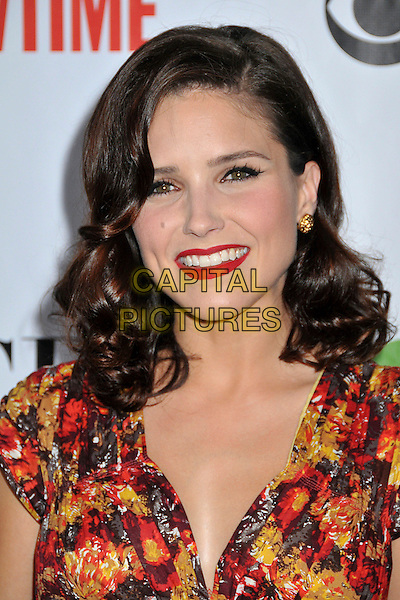 SOPHIA BUSH .Attending CBS, CW and Showtime TCA Press Tour Party 2009 held at the Huntington Library, Pasadena, CA, USA, .3rd August 2009..portrait headshot make-up lipstick res wavy hair gold earrings floral print  vintage forties style retro .CAP/ADM/BP.©Byron Purvis/Admedia/Capital Pictures