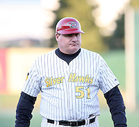 April 4, 2008:  South Bend Silver Hawks manager Mark Haley (51) modeling his batting helmet against the West Michigan Whitecaps at Coveleski Stadium in South Bend, IN.  Photo by: Chris Proctor/Four Seam Images