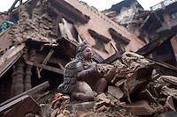 A destroyed temple in Bhaktapur, near Kathmandu, Nepal. May 7, 2015