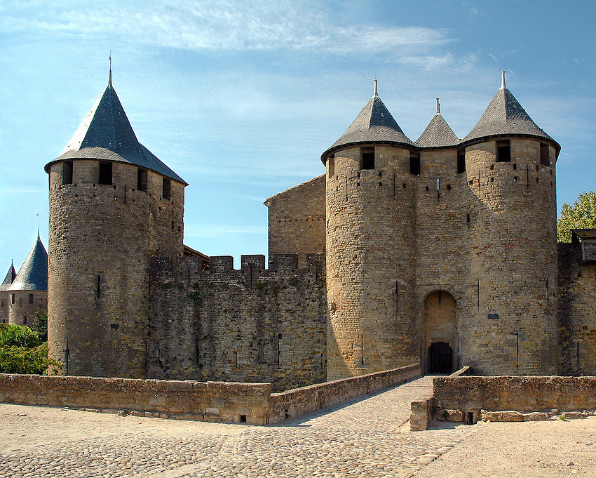 An inside view of a section of the medieval walled city of Carcassonne, in southern France.