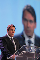 Montreal, CANADA. May 21,2015.<br /> <br /> New Parti Quebecois leader Pierre-Karl Peladeau speak at the Union des Municipalites du Quebec annual meeting, may 21, 2015 in montreal's convention centre.<br /> <br /> PHOTO : Pierre Roussel - Agence Quebec Presse
