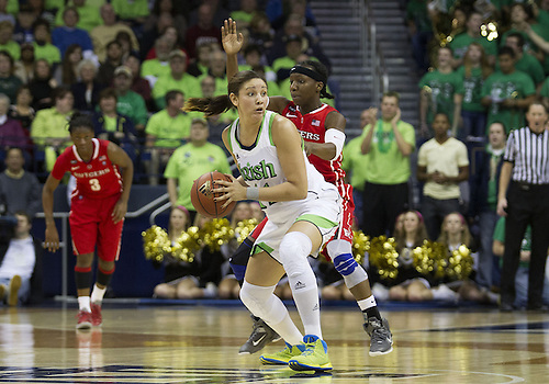 January 13, 2013:  Notre Dame forward Natalie Achonwa (11) looks to pass the ball during NCAA Basketball game action between the Notre Dame Fighting Irish and the Rutgers Scarlett Knights at Purcell Pavilion at the Joyce Center in South Bend, Indiana.  Notre Dame defeated Rutgers 71-46.