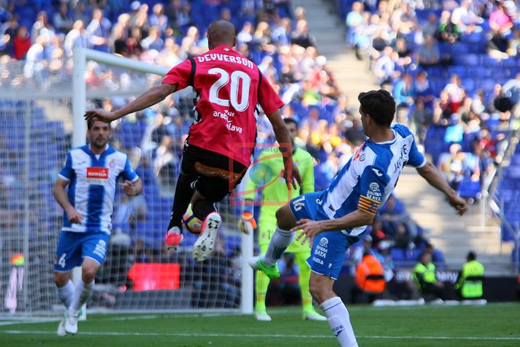 League Santander 2016/2017. Game: 31.<br /> RCD Espanyol vs Deportivo Alaves: 1-0.<br /> Deyverson vs Javi Lopez.