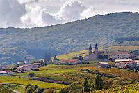 Vineyard. The village with church. Morgon, Beaujolais, France