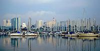 Sailing, Southern California, Long Beach Marina,  Long Beach, CA, USA, Sailboats Reflections on Water, Motor Boating, Power Yachts,