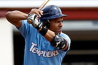 14 July 2011: Ernesto Martinez of Senart Templiers is seen at bat during the 2011 Challenge de France match won 12-9 by the Senart Templiers over Pessac Pantheres, at Stade Pierre Rolland, in Rouen, France.