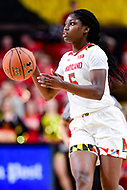 College Park, MD - NOV 29, 2017: Maryland Terrapins guard Kaila Charles (5) brings the ball up court during ACC/Big Ten Challenge game between Gerogia Tech and the No. 7 ranked Maryland Terrapins. Maryland defeated The Yellow Jackets 67-54 at the XFINITY Center in College Park, MD.  (Photo by Phil Peters/Media Images International)