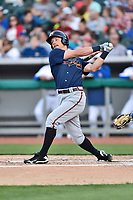 Mississippi Braves center fielder Connor Lien (5) swings at a pitch during a game against the Tennessee Smokies at Smokies Stadium on April 12, 2017 in Kodak, Tennessee. The Braves defeated the Smokies 6-2. (Tony Farlow/Four Seam Images)