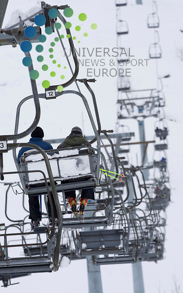 """The chairlift going up to the ski centre at Glencoe Mountain,  the ski centre has had the most new snow of any winter sports resort  in the world on Wednesday, its operators have claimed..Spokesman Andy Meldrum said data collected by the British Ski Club revealed the area experienced a fall of 80cm over 24 hours..Heavy snowfalls were also experienced at other Scottish ski resorts..Snow fell to a depth of 70cm at CairnGorm, 60cm at both The Lecht and Nevis Range, and 50cm at Glenshee..Mr Meldrum said: """"We have had a colossal amount of snow. At car park level we've probably got a metre of snow..""""The amount of snow on the mountain is absolutely epic."""" .26 February 2010 Picture: Maurice McDonald,Universal News And Sport (Scotland)..."""