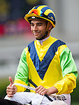 HONG KONG - MAY 04:  Joao Moreira of Portugal riding Bullish Smart Celebrates after winning the Wan Chai Plate at Sha Tin racecourse on May 4, 2014 in Hong Kong, Hong Kong.  Photo by Aitor Alcalde / Power Sport Images