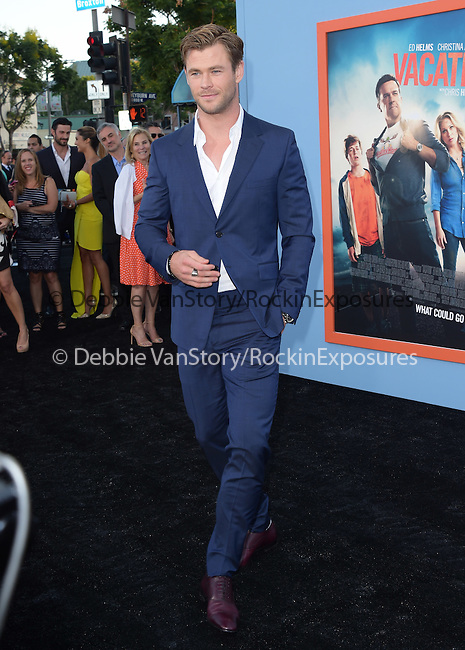 Chris Hemsworth<br />  attends The Warner Bros. Pictures' L.A. Premiere of Vacation held at The Regency Village Theatre  in Westwood, California on July 27,2015                                                                               © 2015 Hollywood Press Agency