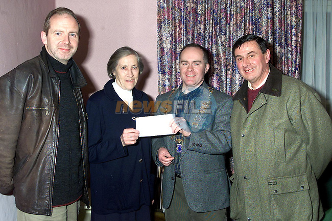 Louis Hughes, Drogheda Lions Club and Donagh O'Brien, President Drogheda Lions Club presenting a cheque to Sr. Cait and Jim Curran of Drogheda Homeless Aid..Picture Paul Mohan Newsfile
