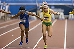 COLLEGE STATION, TX - MARCH 11: Javianne Oliver of Kentucky and Hannah Cunliffe of Oregon compete in the 60 meter dash during the Division I Men's and Women's Indoor Track & Field Championship held at the Gilliam Indoor Track Stadium on the Texas A&M University campus on March 11, 2017 in College Station, Texas. (Photo by Michael Starghill/NCAA Photos/NCAA Photos via Getty Images)