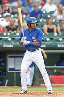 Iowa Cubs shortstop Addison Russell at bat during a Pacific Coast League game against the Salt Lake Bees on August 10, 2019 at Principal Park in Des Moines, Iowa.  Iowa defeated Salt Lake 7-3.  (Travis Berg/Four Seam Images)